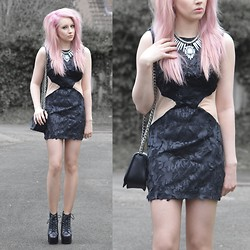 Sammi Jackson - Choies Black Dress, Romwe Crucifix Bag, Primark Spiked Necklace, Jeffrey Campbell Spike Lita - BLACK, SILEVR + PINK