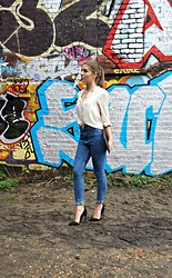 Angharad Jones - Zara Blouse, Urban Outfitters Jeans, Whistles Clutch, Asos Heels - White and denim