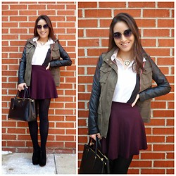 Kimberly Kong - Others Follow Jacket, The Girl That Loves Skirt, Velvet Heart Shirt, Charlotte Russe Necklace, Prada Bag, Oasap Sunnies, Talbots Tights, Deb Shoes - Skater Skirts FTW