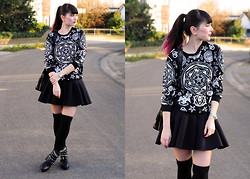 Insomnia Heartbreak - Oasap Occult Print Sweater, H&M Scuba Skirt - Occult Academy