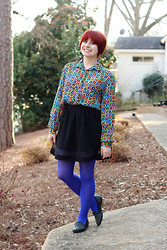 Jamie Rose - 80s Geometric Print Blouse, Forever 21 Black Skater Skirt W/ Mesh Cutout, Walmart Bright Blue Tights, X Appeal Studded Loafers - 80s Blouse & Bright Blue Tights