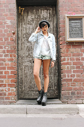 "Elysa Cramer - Topshop Denim Jacket, American Apparel Chiffon Tee, Ksubi Paradise Shorts, Windsor Smith Haven Boots - ""So F------ Leggy"" // 10.03.14"