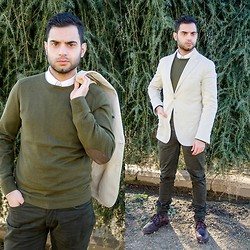 Mvesblog MEN - Massimo Dutti Jacket, Massimo Dutti Cardigan, Zara Pants, Zara Shirt - White over green