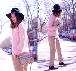 Gabrielle Lacasse - Forever 21 Fuzzy Sweater, Forever 21 Trousers, Shoemint Loafers, Rebecca Minkoff Mini Mac - Fuzzy Pink