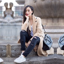 Levi Nguyen - Camel Coat, Ripped Jeans, Adidas Sneakers - TREASURE