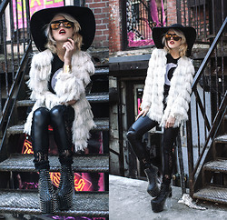 Rachel Lynch - American Apparel Black Hat, Wildfox Couture Aviators, Gypsy Warrior Moon Tee, Pretty Attitude Lace Skull Detail Leggings, Unif Stud Heels - Moon child