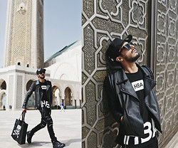 Mohcine Aoki - Trill4, Hba Hood By Air, Byther Rope Rider Jacket, Byther Zipper Biker Pants, Rick Owens, Byther Skull Shopper Bag - هود باي إير