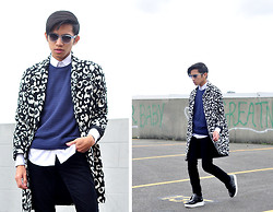 Mc kenneth Licon - Forever 21 Wild Thing Leopard Trench Coat, Oscar Magnuson Clear Sunglasses, Soulland T Shirt, Forever 21 Standout Creepers - Black, White and Wild Leopard
