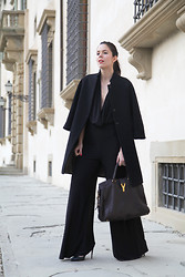 Irene's Closet - Alexoo Jumpsuit, Aniye By Coat, Yves Saint Laurent Bag, Jonak Shoes - Black jumpsuit