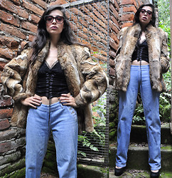 Aquarela FC - Comme Des Garçons Fake Fur Coat, Betsey Johnson Black Lace Corsé, Mom's Closet Momy Jeans.., Cheap Monday Cat Sunnies, Envi Shoes Stiletto - Fancy, fancier & fanciest...