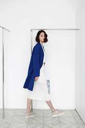 Cherry L - Fashiontoany Blue Blazer, Issey Miyake Inspired Set., Aldo Loafers - Sexy Blues
