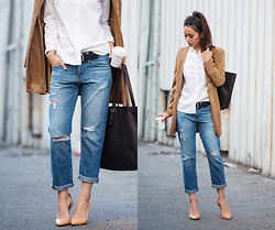 Jenny Ong - Adriano Goldschmied Distressed Bf Jeans, Everlane Market Tote - Boyfriends