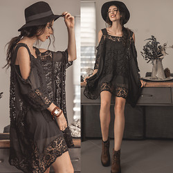 Elle-May Leckenby - Sheinside Black Lace Draping Dress - Nothing's really changed