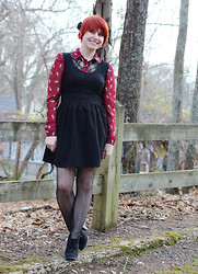 Jamie Rose - Forever 21 Cat Print Shirt, Poof Apparel Little Black Dress, Kmart Herringbone Fishnet Tights, Xhileration Ankle Boots - Cat Print & Herringbone