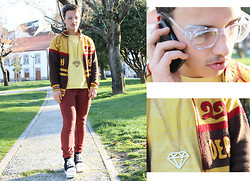 David Mendes - Reclaimed Vintage Round Glasses, Pull & Bear Super Skinny Jeans, Master Outdoor Rare Jacket - Brother's jacket