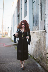 Delightfully Tacky . - Modcloth Dress, Modcloth Jacket, Seychelles Shoes, Bon Look Sunglasses - The rule book