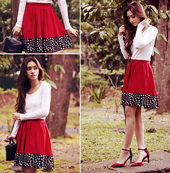 Aileen Belmonte - Shop Thrift Market Red Skirt, Uniqlo Top, Zara Ankle Strap Heels - Borders