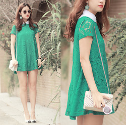 Mayo Wo - Romwe Minty Earrings, The Layers Sheer Collar, Romwe Viridian Lace Dress, Yves Saint Laurent Studded Purse, Chanel Two Tone Pumps - Viridian