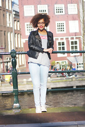 Roos A - Leather Jacket, Jeans, Low Tops - A day in Amsterdam