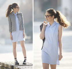 Olympia C - Zara Checked Jacked, In Love With Fashion Light Blue Skater Dress, Vagabond Creeps - Baby Blue