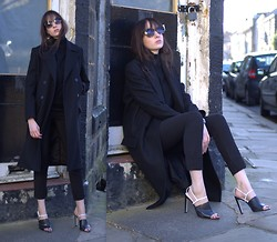 Lizzy Hadfield - Cos Coat, Acne Studios Trousers, Alexander Wang Heels - Sunglasses and Black