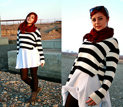Diane S - H&M White Skirt, H&M Stripes Sweater, Boots - Mind blowing