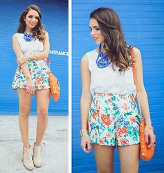 "Daniela Ramirez - Minkpink Floral Shorts, Minkpink Crochet Top - Lookbook x Bloomingdale's ""Sunset + Spring"""