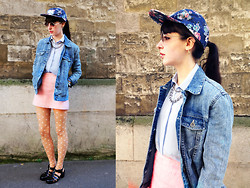 Barbara Malewicz - La Cie Vantis Flowery Cap, New Look Denim Jacket, Topshop Chiffon Baby Blue Shirt, Topshop Fluffy Pink Skirt, Falke White Flowers Tights, Juju Footwear Jelly Shoes, Handmade Metal Chains - Unexpected french summer