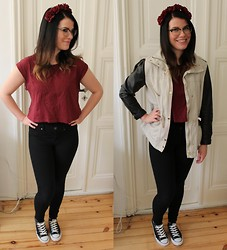 Oona P - Gina Tricot Cropped Shirt, H&M Leather Sleeve Jacket - All I wanna do is to make you dance with me