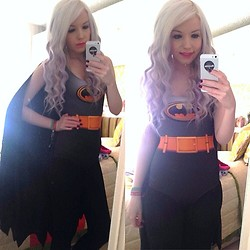 Megan Alice Rose Littlewood - Black Milk Clothing Batman Swimsuit With Detachable Cape - I am Batman