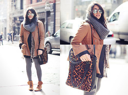 Naina Kamath - Vero Moda Trench Coat, H&M Knitted Scarf, Hayden Harnett Leopard Pony Hair Bag, American Apparel Leggings, Zara Suede Boots - A Soho Second