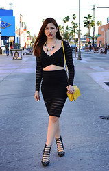 Fernanda Lily Amaya - Bebe Crop Blouse, Bebe Pencil Skirt, Shoe Cult Summer Boots, Antonio Melani Yellow Purse - It's Black Lily