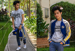 Andre Tan - Ranz Project Shirt, Dkny Varsity Jacket, Oxygen Clothing Jeans - Young Forever