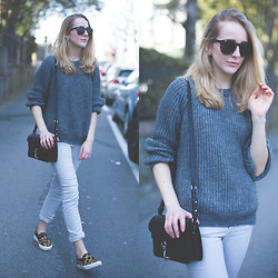 TIPHAINE MARIE - Zara Sweater, Céline Sunnies, Rebecca Minkoff Bag, Sandro Slip Ons - Early morning.