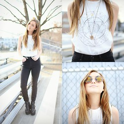 Jen Mulrow - Brandy Melville Usa Graphic Tee, Free People Necklace, Articles Of Society Halley High Rise Denim, Office Boots, Wildfox Couture Startstruck Sunglasses - 5 Days of AOS
