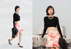 Uli C - Zara Ribbed Knit Crop Top, Dressabelle Floral Trumpet Hem Skirt, Charles & Keith Lucite Heel Pumps, Cheap Monday Chunky Chain Necklace - Light Me Up