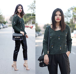 Adriana Gastélum - 6ks Embellished Sweater, Proenza Schouler Ps11, Choies Faux Leather Trousers - Embellished