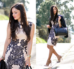 Alba . - In Love With Fashion Dress, Sheinside Jacket, Oasap Bag - ...Pink Dress...