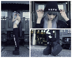 Kaili Baranowski - Buffalo Platforms, Boy Sweatpants, Brashy Couture Nsfw Beanie - Not Safe 4 Work