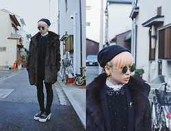 PYRRHICS † - Black Beanie, Round Vintage Green Lens Sunglasses, Uniqlo Polka Dot Shirt, Comme Des Garçons Oversized Knit Sweater, Vintage Fur Coat, American Apparel Disco Pants, Paisely Bandana, Frontrowshop Chunky Leather Platforms - Kyoto