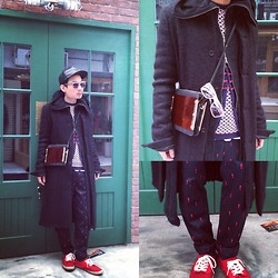 SOMAD • MATTHEW • 蘇柏傑 - Frankie Morello Jumper, Rick Owens Coat, Dress Camp 33 !!!!!!!!!!!!!!!!!!!!!!Pants, Miharayasuhiro Long Cardigan, Kusbi Sumglasses, Frankie Morello Cardigan, Vans Sneakers -  black meets red down the street