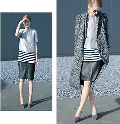 Jade Eve - H&M Coat, Vintage Skirt, Zara Shoes - Silver leo