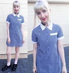Kate Hannah - Gingham School Dress (Thrifted), Truffle Patent Flat Lace Up Shoe, Ebay Leather O Ring Choker - Leather&&&Gingham