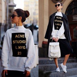 Tina Sizonova - Sheinside Sweatshirt, Grafea Bagpack, Cheap Monday Sneakers, Choies Coat - ACNE STUDIOS
