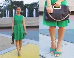 Daphne Verzosa - Vintage Dress, Ostrich Gold Chain Bag, Vida Snakeskin Sandals - Earthy