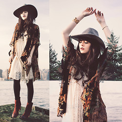 Rachel-Marie Iwanyszyn - Free People Hat, Kimono, Free People Dress, Seychelles Boots - MOTHER NATURE.