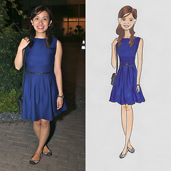 Michelle Lara Tan - Topshop Dress, Pedro Shoes, Forever 21 Belt - Royal Blue