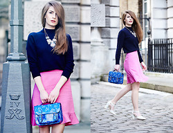 Denisia A. - Kenzo Skirt, Accessorize Necklace, Faith Shoes, Vintage Bag - The Pink Issue
