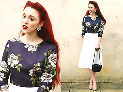Megan McMinn - Marks And Spencer Top, Marks And Spencer Skirt, Marks And Spencer Silver Heels, New Look Earrings, H&M Cat Bag - Navy Florals.