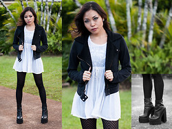 K Di - Mudd Black Bomber Jacket, Sheer White Baby Doll Blouse, Jeffrey Campbell Mulder - Contrast